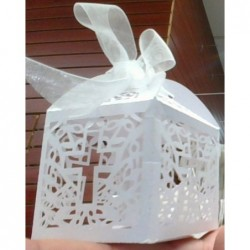 Laser Cut  White Favor Box